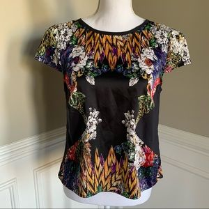 Nicole Miller Black Printed Blouse Top